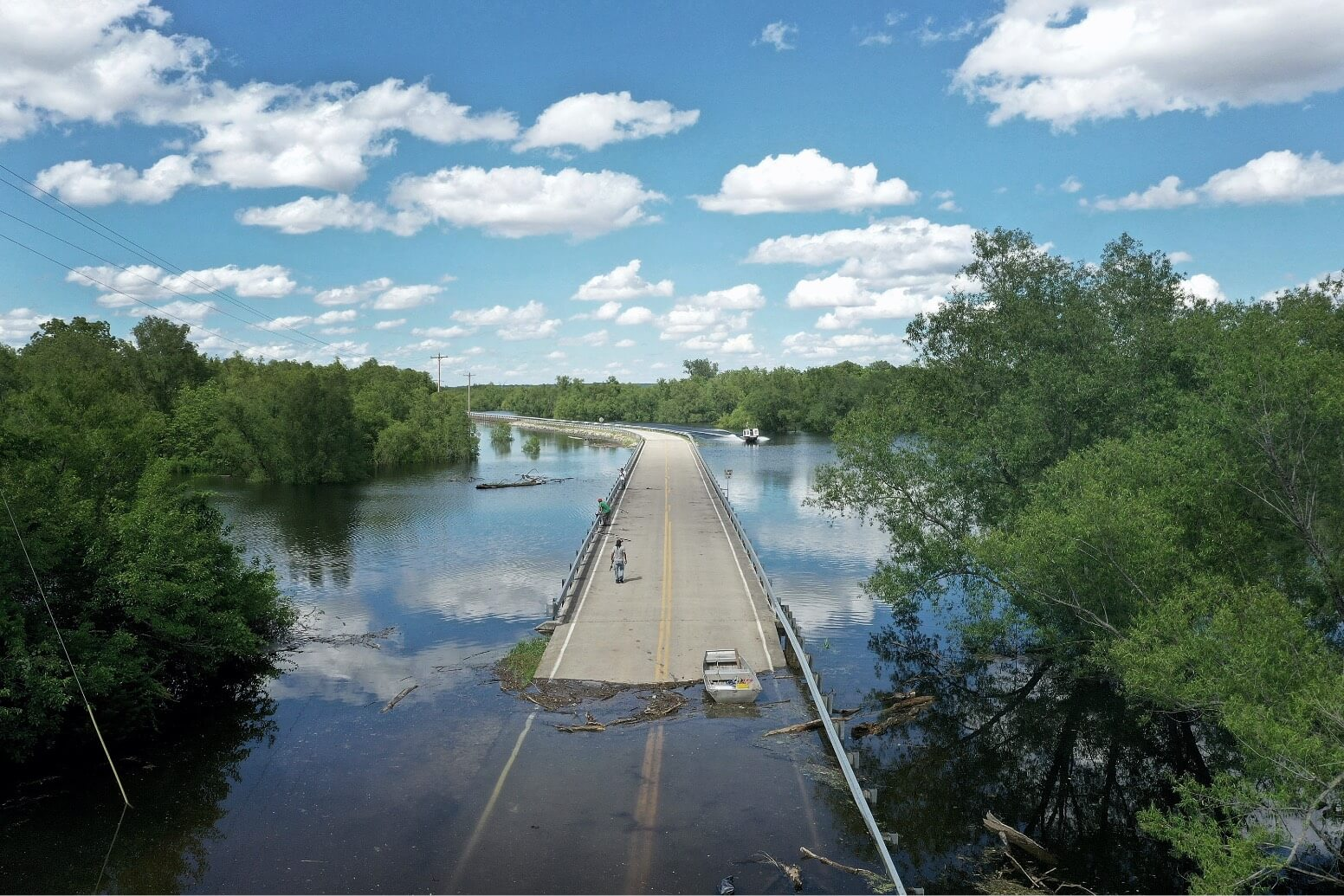 Floodwater from the Mississippi River cuts off the roadway from Missouri into Illinois at the states' border on May 30, 2019 in Saint Mary, Missouri.